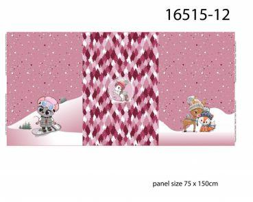 Tiere im Winter rosa, Digital Druck Panel, French Terry