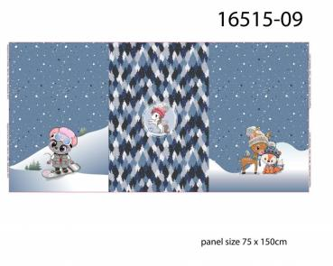 Tiere im Winter blau, Digital Druck Panel, French Terry